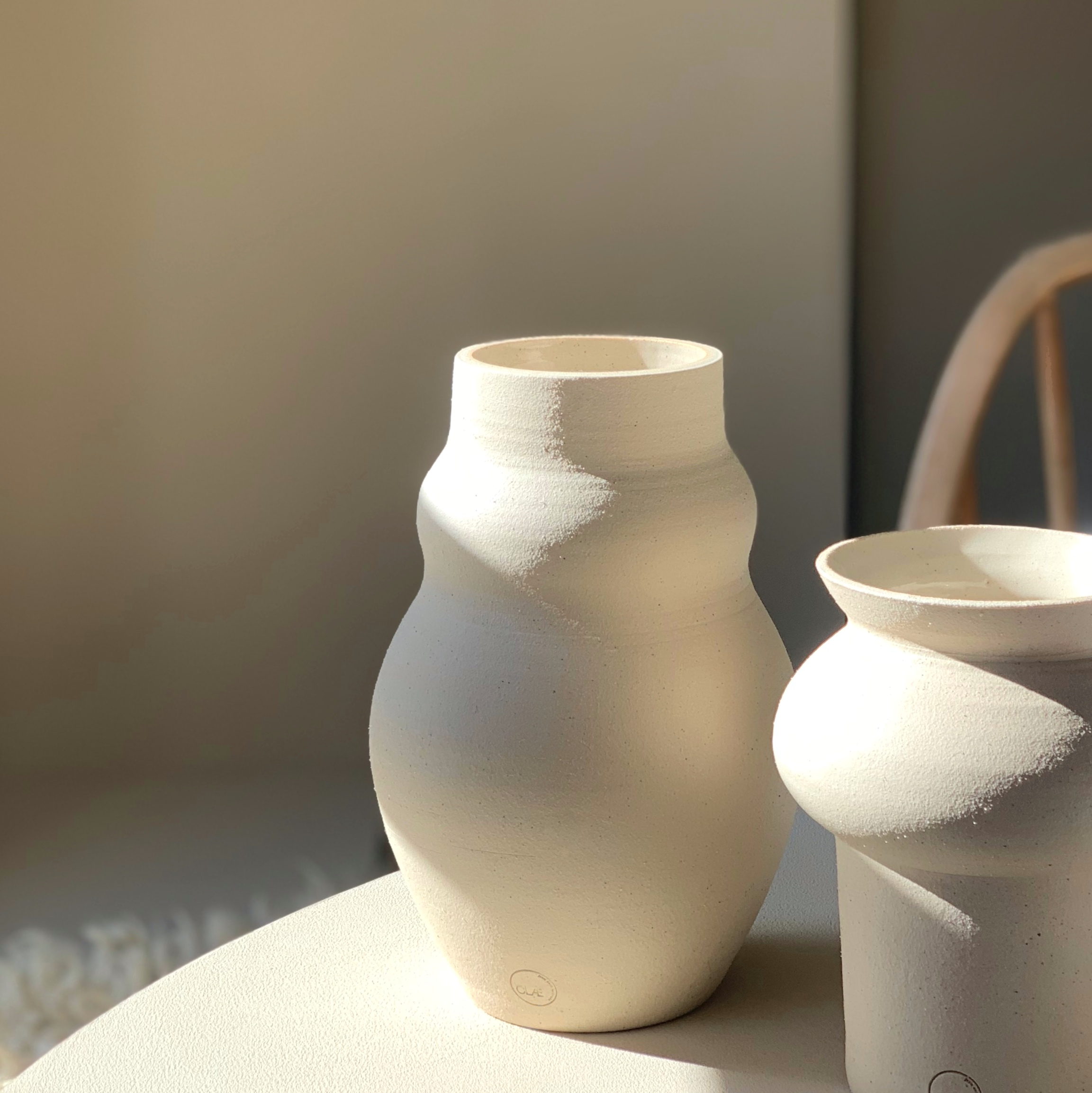 White stoneware vases