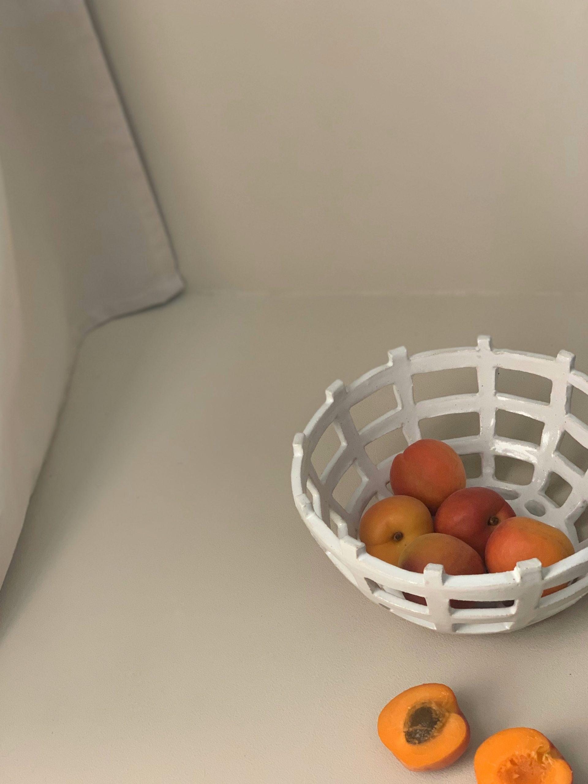 White stoneware basket