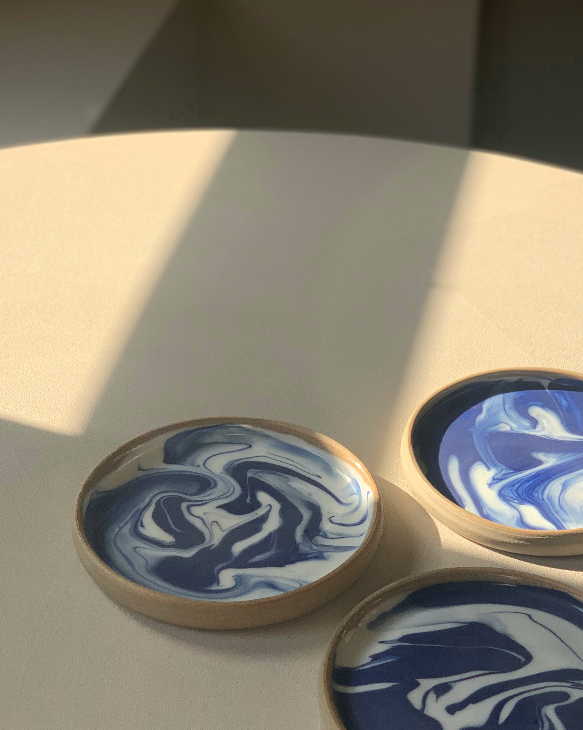 Blue Marbled Side Plates